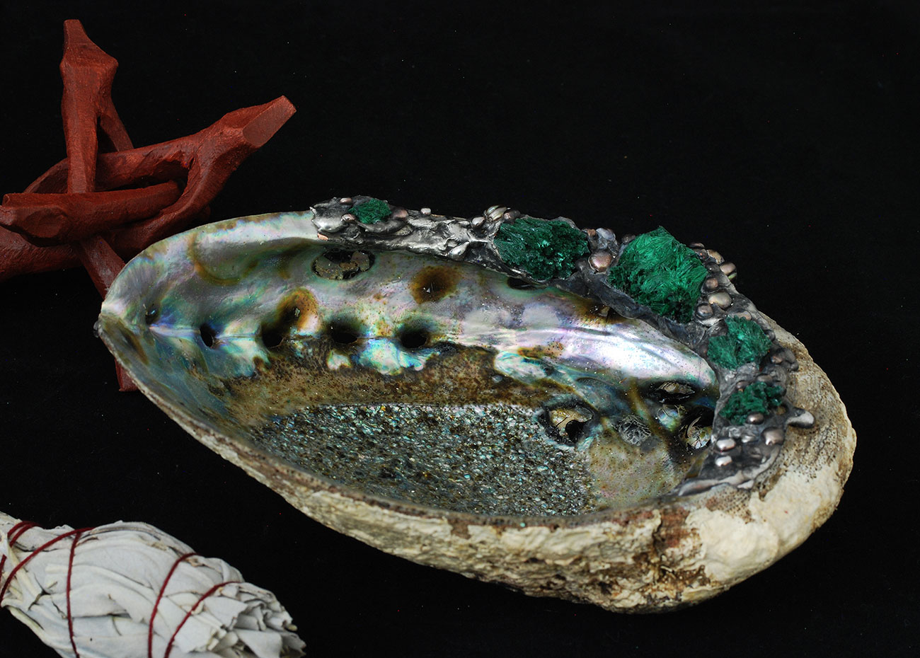 Stunning 6inch plus(16cm) wide Abalone Smudge bowl.