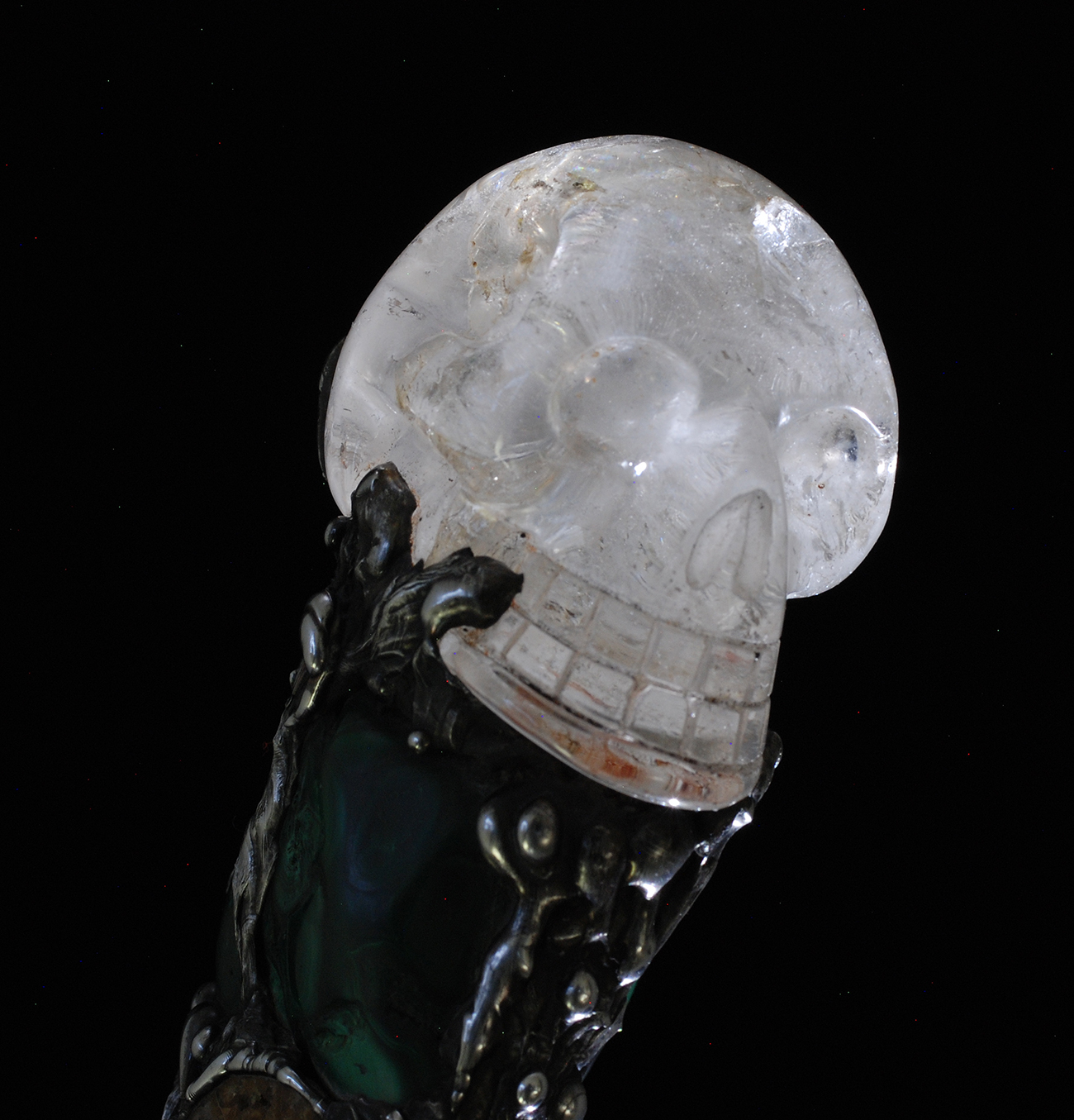 Golden Lemurian Crystal Skull Power Wand
